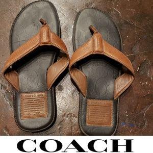 Coach leather flip flops